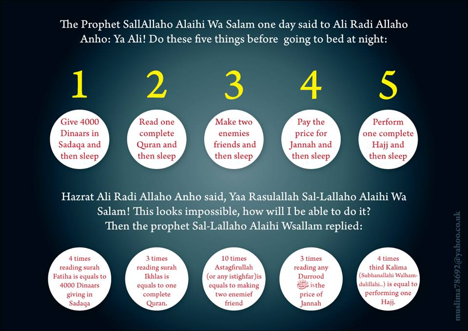 Five things to do before sleeping islam