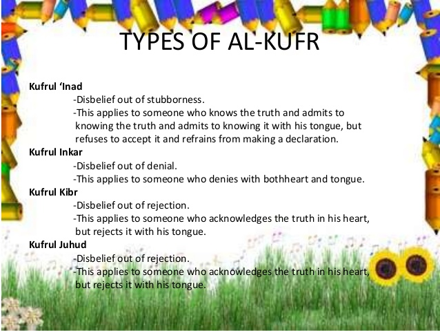 Types of Kufr (Disbelief)