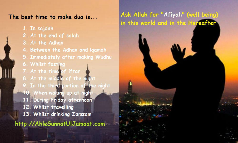 Best Times to make Dua (Supplication)